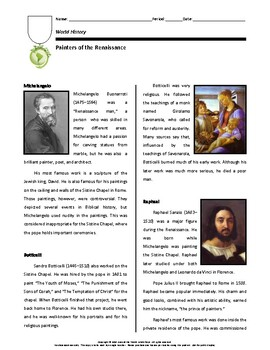 Biography: Painters of the Renaissance