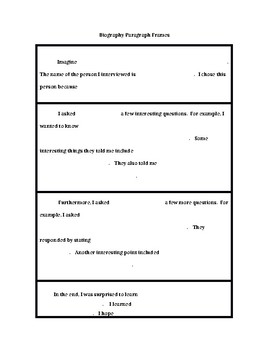 Biography Paragraph Frames