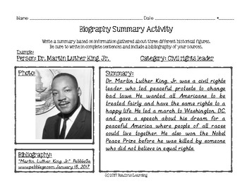 Biography Paragraph Summary Activity