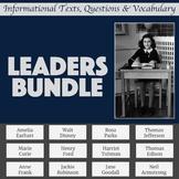 Biography Passages & Questions Emphasizing Leadership Traits Bundle