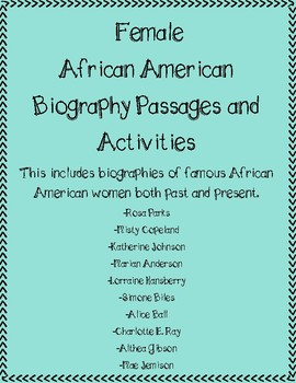Biography Passages and Activities for African American Women