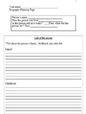 Biography Planning Page (Grades 2 - 6)