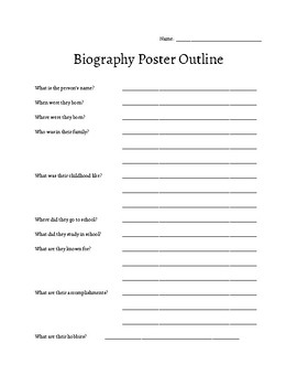 Biography Poster Outline