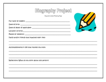 Biography Project Choice Board