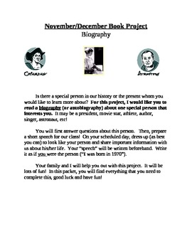 Biography Project (First Person Speech)