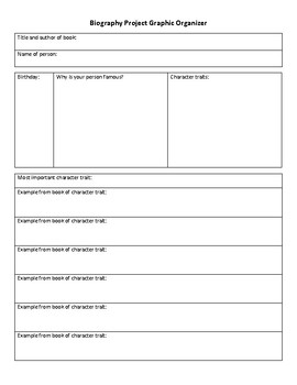 Biography Project Graphic Organizer