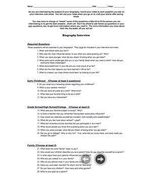 Biography Project   Research & Article Writing Project   Grades 6-10