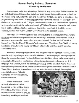 Biography REMEMBERING ROBERTO CLEMENTE w/20 Mult Choice Reading Comprehension Qs