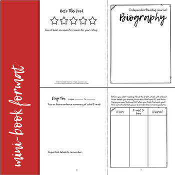 Biography Reading Response Journal