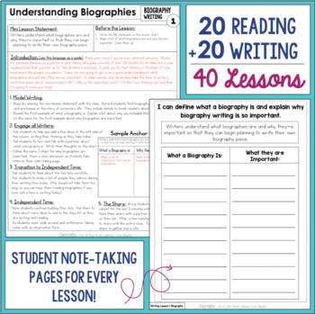 Biography Reading & Writing Unit Grade 4: 2nd Edition!!!