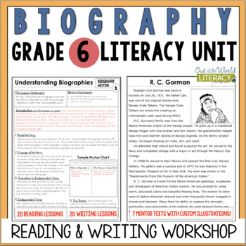Biography Reading & Writing Unit Grade 6: 40 Detailed Lessons with CCSS!!!