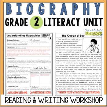 Biography Reading and Writing Unit: Grade 2...40 Lessons with CCSS!!