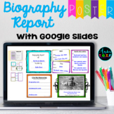 Biography Report Digital Poster in Google Slides Distance