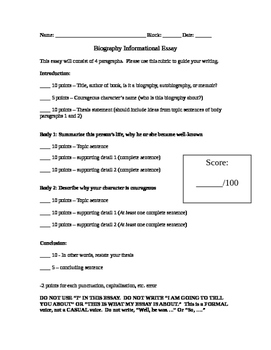 Biography Report/Essay