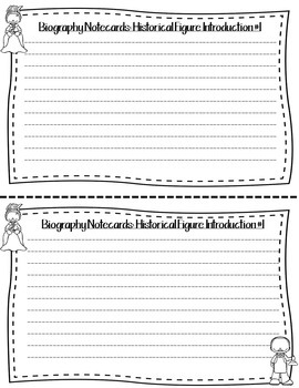 Biography Report Notecards