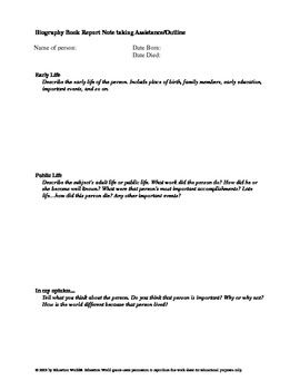 Biography Report Notes Outline 1