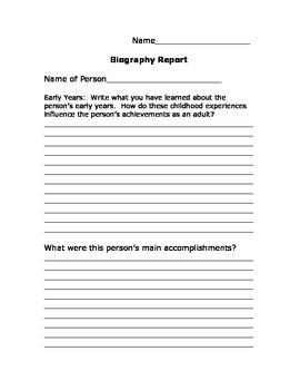 Biography Report Prewrite
