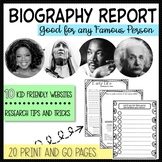 Biography Report Research Template Project 3rd 4th 5th grade no prep common core