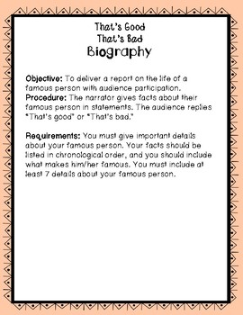 Biography Report -- That's Good That's Bad