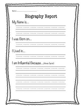 Biography Report Worksheet