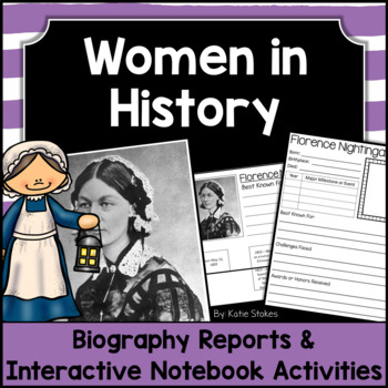 Biography Reports & Interactive Notebook Activities - Wome