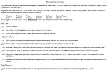 Biography Research Brochure Project