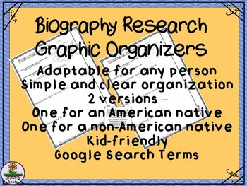 Biography Research Graphic Organizer + Google Search Ideas
