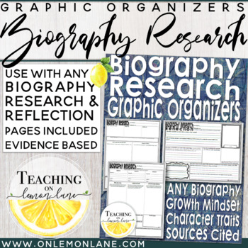 Biography Research Graphic Organizer Includes Reflection Sheet