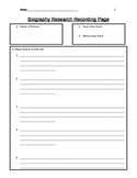 Biography Research Graphic Organizer Page