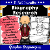 Biography Research Graphic Organizers - 11 Set BUNDLE | Distance Learning