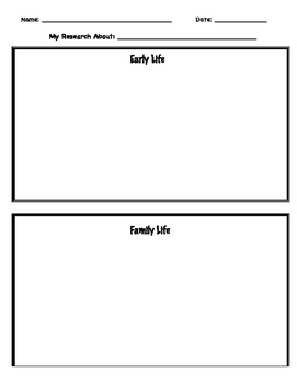 Biography Research Graphic Organizers