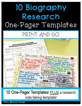 Biography Research One Pager Templates