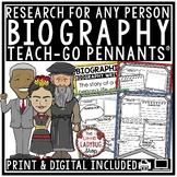 Biography Research Graphic Organizer  • Teach- Go Pennants™
