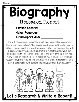 Biography Report w/ Optional Visual Display: Biography Research Students Love!
