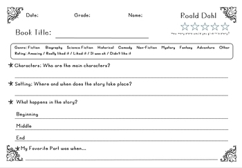 Biography Research Report / Roald Dahl Biography Worksheet