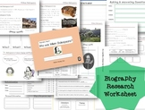Biography Research Report / William Shakespeare Biography worksheet