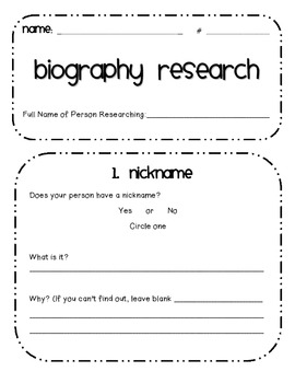 Biography Research for Kids