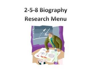 Biography Research/Technology 2-5-8 Menu