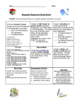 Biography Response Choice Board