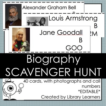 Biography Scavenger Hunt: Editable