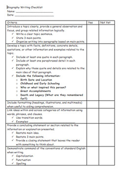 Biography Student Checklist