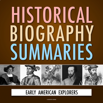 Early American Explorers: History Biography Webquest (PDF & Google Drive)