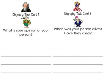 Biography Task Card and Organizers