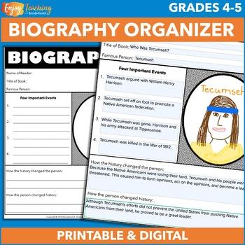 Biography Graphic Organizer Free By Brenda Kovich Tpt