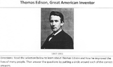 Biography Thomas Edison, Great Inventor Reading Science w/ 14 Comprehension Ques