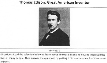 Biography Thomas Edison, Great Inventor Reading Science w/