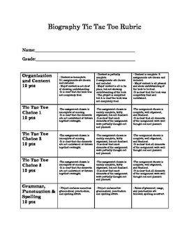 Biography Tic Tac Toe RUBRIC