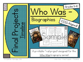 *Free* Who Was Biography Series - TIMELINE Fill-in Graphic Organizer