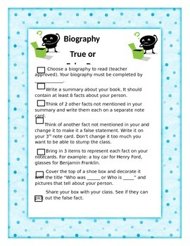 Biography True/False Box