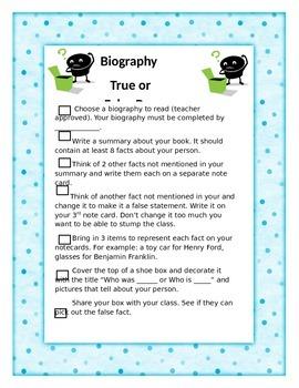 Biography True/False Box